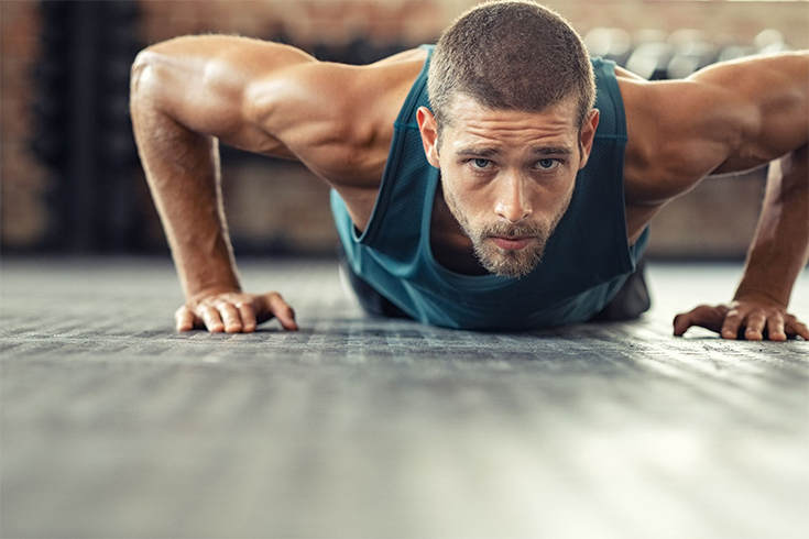 Athlete doing push up